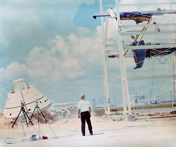 <p><strong>Apollo Drop Testing</strong><br /> Drop testing for the Apollo capsule's return to earth. Cool guys do look at explosions, apparently.</p>