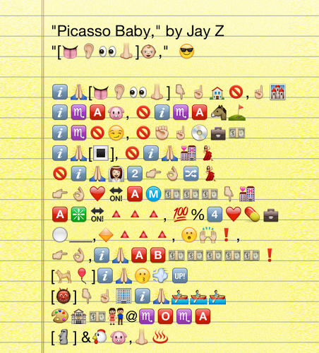 <p>Emoji Major master Zoe Mendelson is mixed about Jay Z's new album Magna Carta, but saw an emoji gold mine in the &quot;Picasso Baby&quot; single. All the artist name-checks are bracketed (good doggie+balloon = Koons), and &quot;I wanna row of&quot; translates into rowboats.</p>