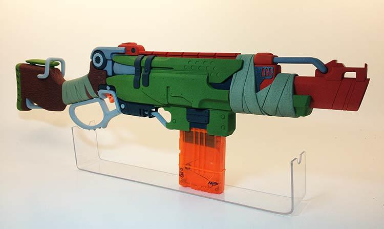 <p>A scale model of the Slingfire as it was envisioned by Nerf's adult designers, without taking cost, marketing, or testing into account. It looks more like a cosplay Nerf than a blaster you'd buy off toy shelves.</p>
