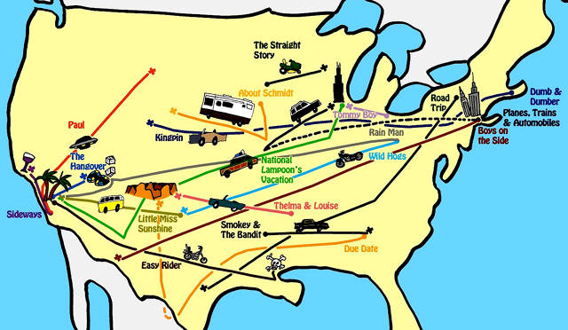 Infographic Navigate America With This Road Trip Movie Map – Map Out Travel Route