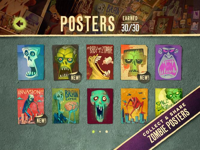 <p>Speaking of insane detail, Laika designed nearly 40 original zombie posters to adorn Norman's room in the film. And they're awesome!! Wanting to highlight as much of the film's craft as possible, Wieden + Kennedy wanted to incorporate these posters--which enjoy only fleeting screen time--into the game. Each time a player receives three stars on game levels, a new poster is unlocked and placed in an in-game gallery, allowing users to explore up close their artist detail.</p>