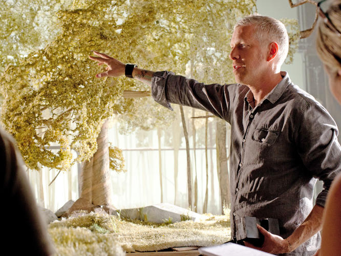 <p>Production Designer Nelson Lowry discusses one of the sets.</p>