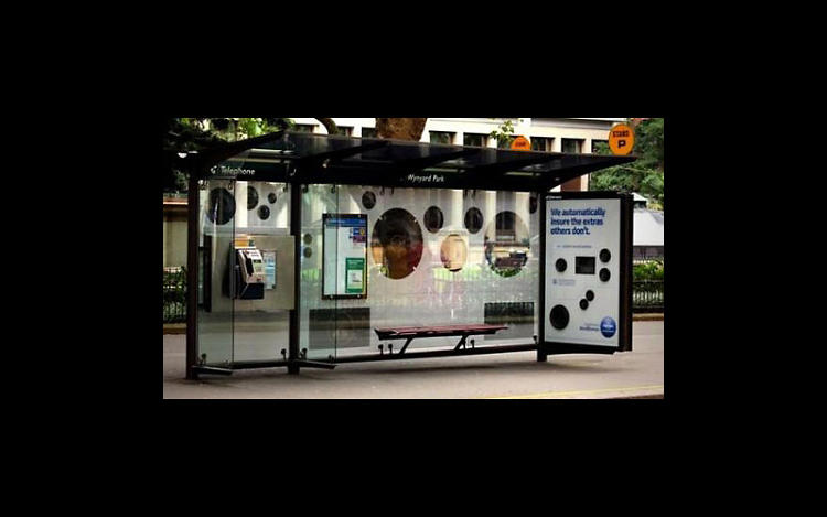 <p>SMELL! TASTE! FEEL! HEAR!: NRMA musical bus shelter</p>  <p>Given the rash of ingenious uses of bus shelters, we're going to conclude that public transit is pretty much intolerable. Happily, advertisers are rushing to the emotional rescue, providing as we've seen previously here, nourishment, comfort and scrumptious smells. Now, we can add entertainment to the list. In Australia, NRMA Insurance recently outfitted transit shelters with giant speakers and a playlist to help commuters pass the time--and advertise that their insurance covers sick car stereos and other automotive extras, of course. Created by agency Whybin\TBWA\Tequila, Sydney, the stereo is activated with the scan of a QR code, which prompts people to &quot;like&quot; NRMA. Once the obligatory social media exchange takes place, out come the tunes.</p>