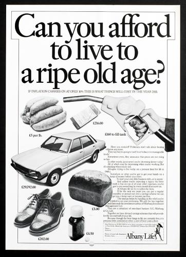 <p>Brignull's 1981 ad for Albany Life.</p>
