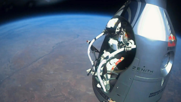 <p>Baumgartner gets ready to take the leap.</p>