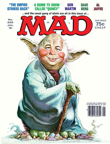 "<p>January 1981– After this Yoda cover appeared, George Lucas' attorney sent <em>Mad</em> a cease-and-desist letter for copyright infringement. ""It could have been a complete mess,"" says Ficarra, ""if it wasn't for the fact that a couple of weeks earlier I received a letter from Lucas himself saying how much he loved the cover.""</p>"