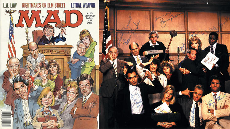 "<p>October, 1987 – When <em>Mad</em> poked fun at <em>L.A. Law</em>, creator Steven Bochco sent a thank-you with a photo of his cast posed in the same way. Six years later, Ficarra sent Bochco a copy of its <em>NYPD Blue</em> spoof with a note saying, ""I dare you…""</p>"