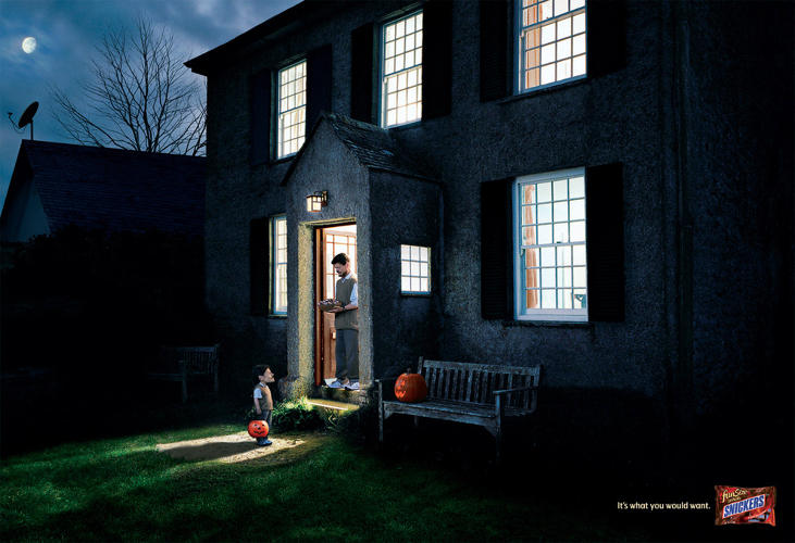 <p>An older print campaign from TBWA\Chiat\Day takes up the unsettling, but clever concept that Snickers is what you would give yourself, by featuring a series of Halloween exchanges between people and their mini-me's. Darkly, deliciously funny.</p>