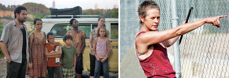 "<p>As Carol (Melissa McBride, far right in the left picture) toughens from a battered wife meshing into the background to gun-toting maternal force, her wardrobe transitions from drab floral patterns and sandals to more exposed tops, bold colors, and boots. ""After Carol's daughter dies in season two, she rips off her cross necklace and we never see it again,"" says Womble.</p>"