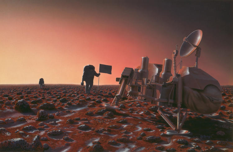 <p>In this 1991 image, the Viking 2 Mars lander (which landed in 1976 at the Utopia Planitia site) is reunited with the species that sent it there.</p>