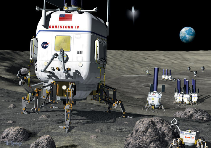 <p>This 2000 image depicts modules designed as combination landers, rovers, and habitats.</p>
