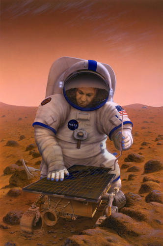 <p>This 1997 image imagines a human visitor greeting Sojourner, the Mars Pathfinder rover, years hence.</p>