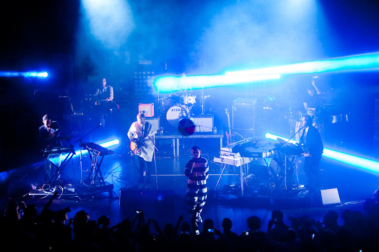 <p>Hot Chip paraded through hits including &quot;Flutes,&quot; &quot;Boy From School,&quot; &quot;Shake a Fist,&quot; &quot;Ready for the Floor,&quot; &quot;Over and Over,&quot; and &quot;One Life Stand.&quot;</p>