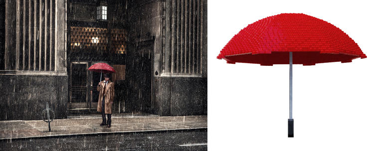 <p>Sawaya created a red Lego umbrella for this Dean West photo for the <em>In Pieces</em> exhibit.</p>