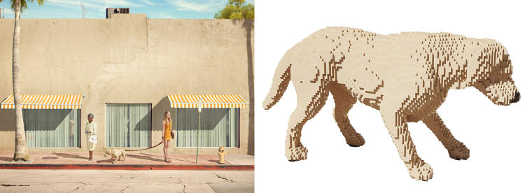 <p>Sawaya created a Lego dog (right) and window mannequin for this Dean West photo for the <em>In Pieces</em> exhibit.</p>