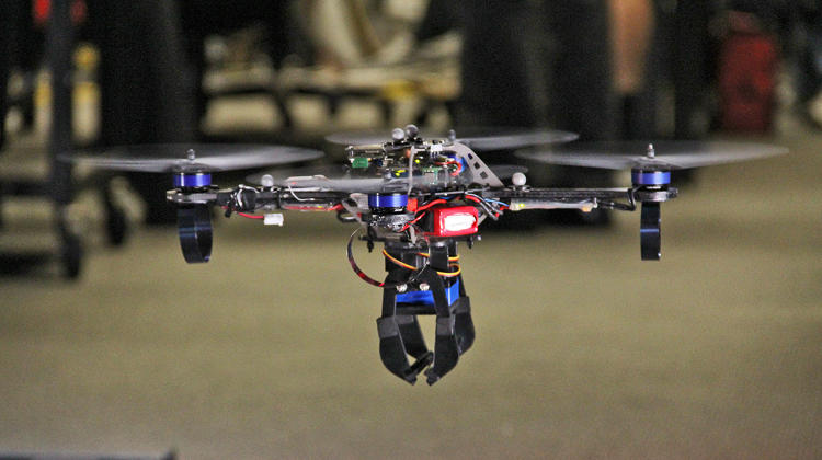 <p>Quadrotor UAV hovering at the GRASP Lab at the University of Pennsylvania</p>