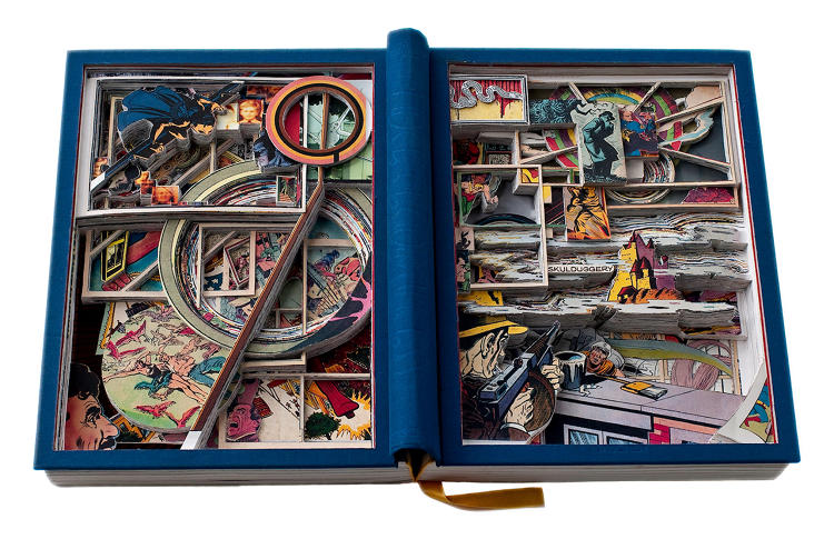 <p>Seattle artist James Allen, who calls his work &quot;Book Excavations,&quot; cuts away sections of each page to reveal layers underneath to create an entirely new composition. The book remains bound and the pages intact. This piece is a modified version of <em>75 Years of DC Comics: The Art of Modern Mythmaking.</em></p>