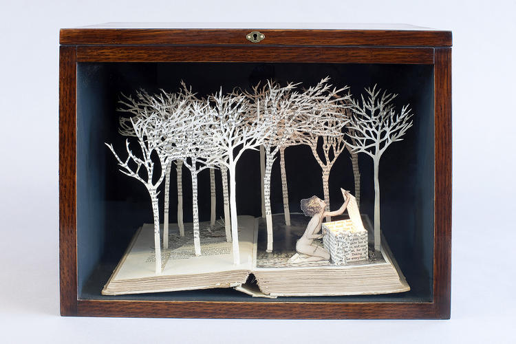 "<p>Drawing inspiration from fairy tales and folklore, London's Su Blackwell reads each story first before carving three-dimensional tableaux from secondhand books, lights, glass, and wood boxes.  In <em>Art Made From Books,</em> Blackwell says books ""can transport you to a different time and place, and some­where more magical.""</p>"