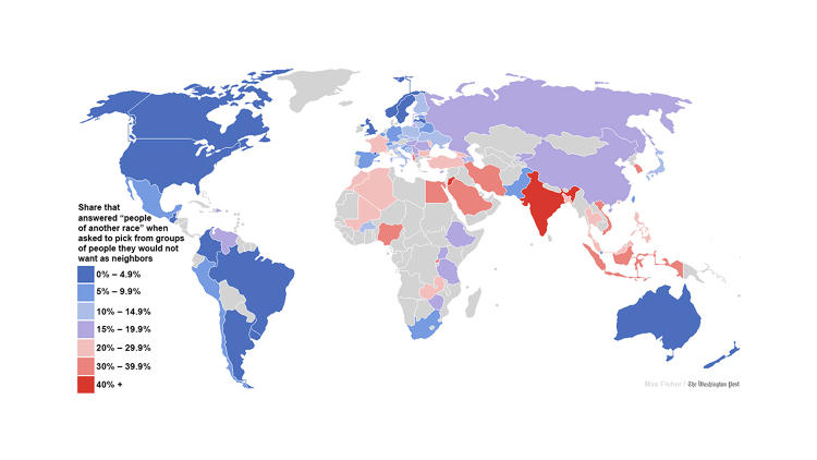 <p>Where people are the most and least racially tolerant</p>