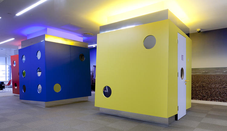 <p>The aforementioned dice video-conferencing booths</p>