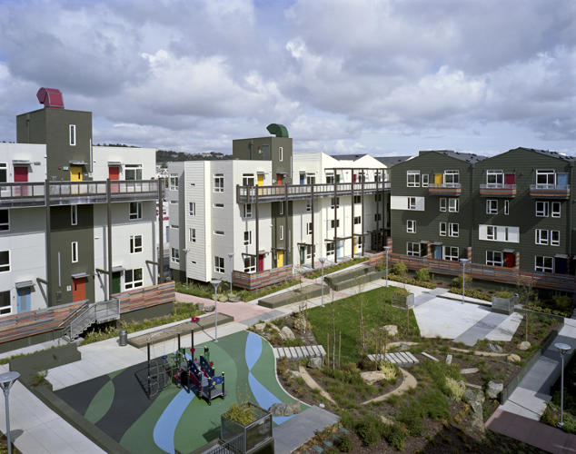 <p>Spread over an old industrial site in San Francisco, this complex, by the Bay Area's residential design king David Baker + Partners, pairs a senior apartment building with affordable townhouses for families who'd otherwise get priced out of the city.</p>