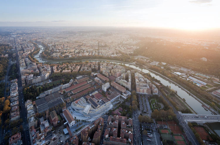 <p>An overhead shot of Zaha Hadid's new National Museum of XXI Century Arts in Rome</p>