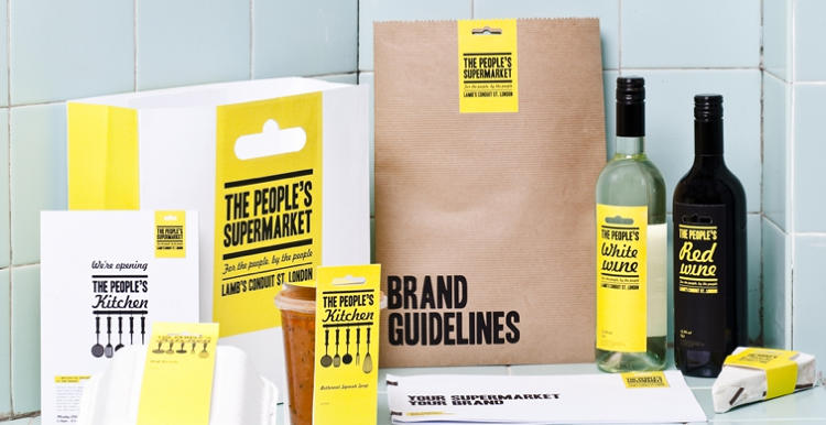 <p>Here, UK-based Unreal managed to make The People's Supermarket, a crunchy food co-op, look pretty sexy, with a simple, but elegant, branding scheme that exploits bold color and typography.</p>