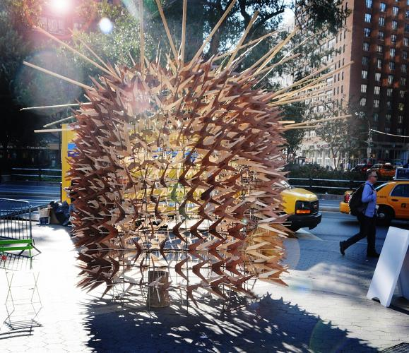 <p>Holy blowfish! Designed by Matthias Karch of Berlin, this sukkah is based on the &quot;universal knot&quot; invented by German-Jewish engineer Konrad Wachsmann, and made of wood from Israeli olive trees, and American walnut and maple trees.</p>