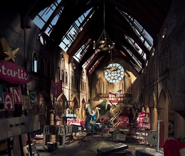 <p>A ruined church becomes a tomb for popculture ephemera after Nix's unexplained catastrophe.</p>
