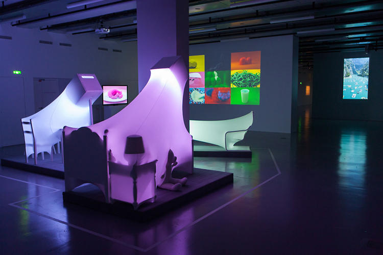 <p>Installed in a Paris gallery, their nine pieces range from sculptures to &quot;kinetic paintings&quot; projected on the wall.</p>