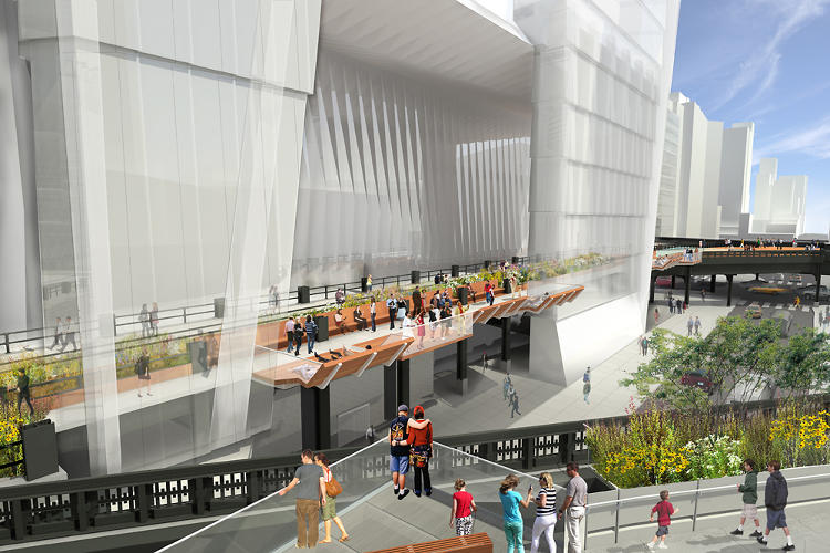 <p>The High Line will cut through development that doesn't even exist yet. Here, the park passes under a skyscraper that's expected to be nearly as tall the Empire State Building.</p>