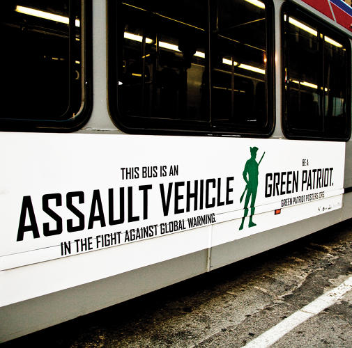 <p>The campaign, called Green Patriot Posters, used bold graphics and simple language to bill environmental advocacy as an act of patriotism--an attempt to appeal to folks across the political spectrum. The ads were placed on 80 buses in 2008.</p>