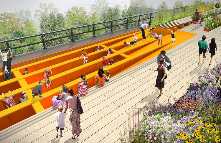 <p>The designers plan to rip up existing concrete boards, and coat the exposed beams underneath in rubber to create a kids' climbing structure--the park's first designated play feature.</p>
