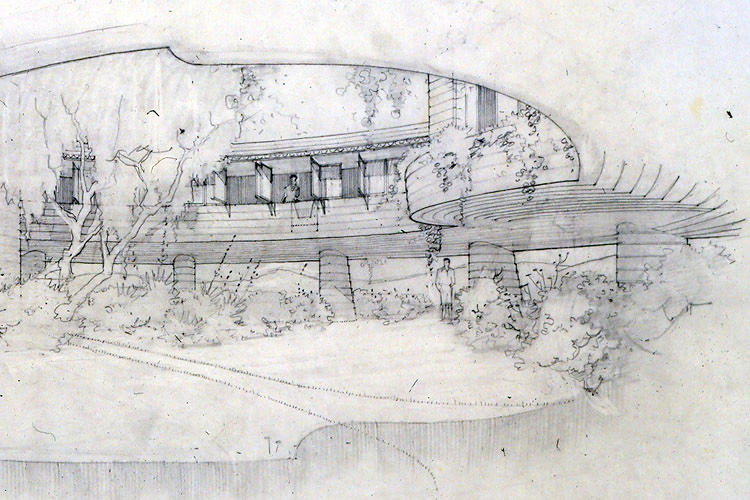 <p>A 1950 sketch of a home in Arizona that Wright designed for his son.</p>
