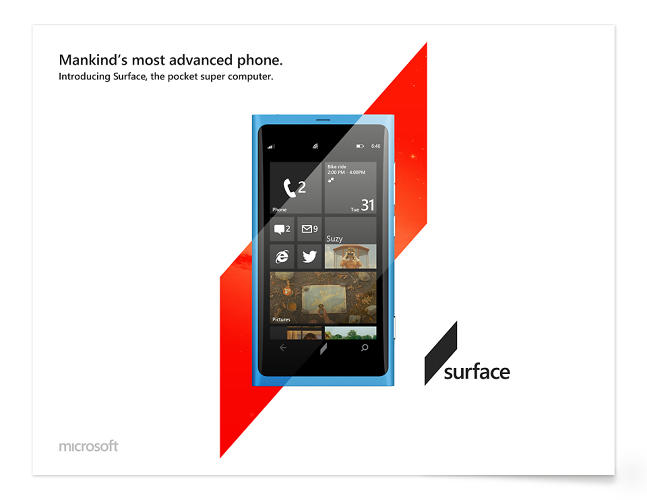 <p>The designer thinks the brand isn't properly conveying the excitement and vision of their new products--here, he redesigns an ad for the Windows phone.</p>