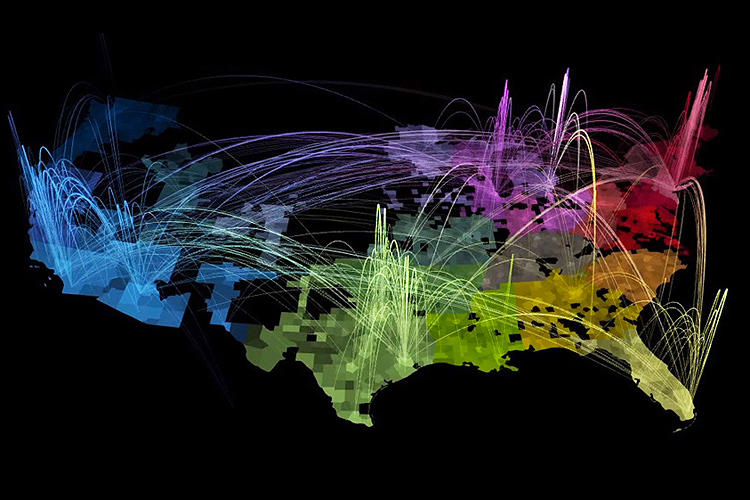 <p>Similarly, MIT's Senseable City Lab visualized social ties in America by mapping cell-phone calls across the country. Think of it as the United States Of Places That Actually Like Each Other. Note the large, if unsurprising, divide between northern and southern California.</p>