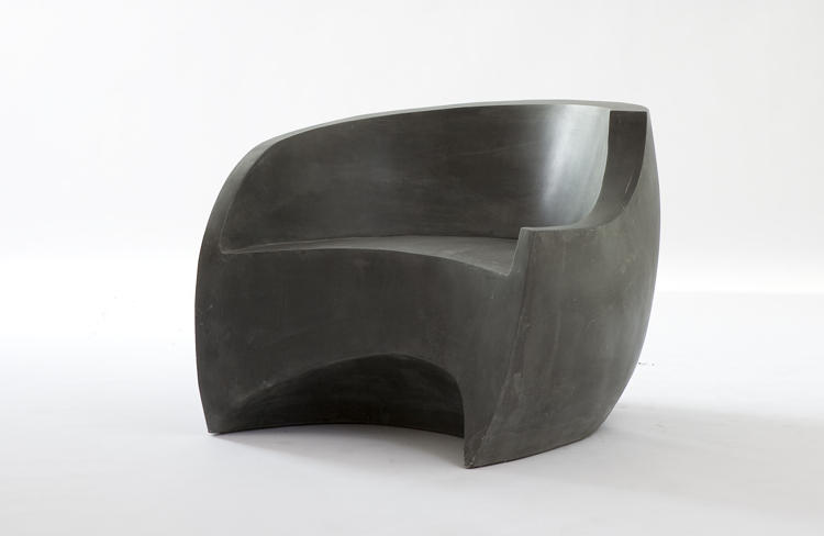 "<p>Referred to in The New York Times as ""one of the most important furniture designers of the 20th century,"" Vladimir Kagan contributed to the exhibition with a chair made of fiberglass, then finished in dark graphite.</p>"