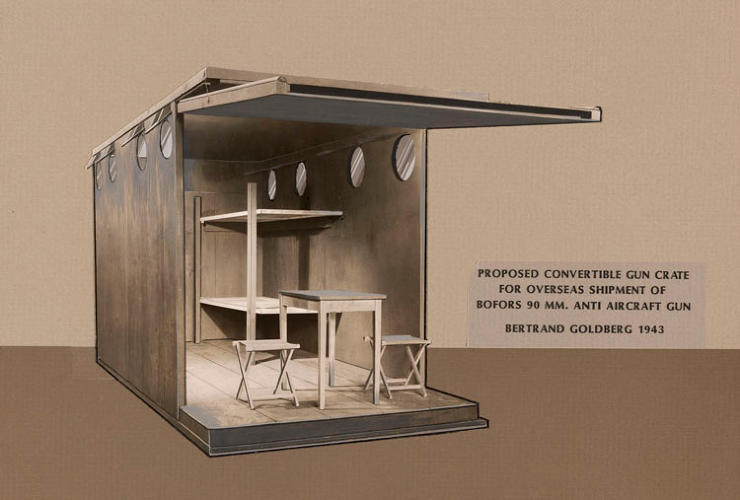<p>A great example of Goldberg's innovative mind: He proposed transforming anti-aircraft gun crates into shelters. For more information on the architect, visit the excellent site bertrandgoldberg.org.</p>