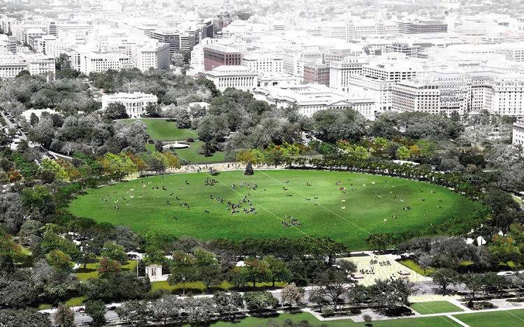 <p>The National Capital Planning Commission announced five finalists in a design competition to revamp President's Park South yesterday. Here, a proposal from Watertown, Mass.-based Reed Hilderbrand tries to make the Ellipse (an employee parking lot for the White House with a big lawn in the middle) more inviting to the public.</p>