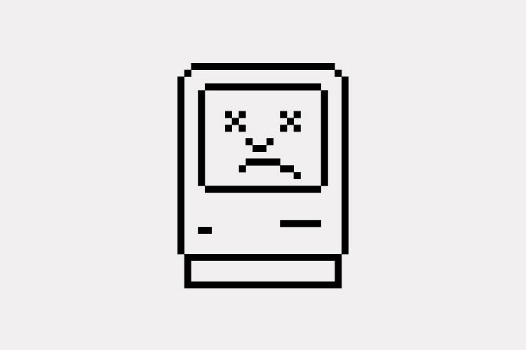 <p>This flip side of the happy Mac was designed to indicate a problem--presumably a rare occurrence. It's intended to look like a knocked-out boxer--a more dramatic change than just an altered smile.</p>