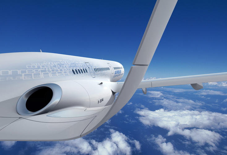 <p>Long, slim, bird-like wings are designed to reduce drag and improve fuel efficiency.</p>