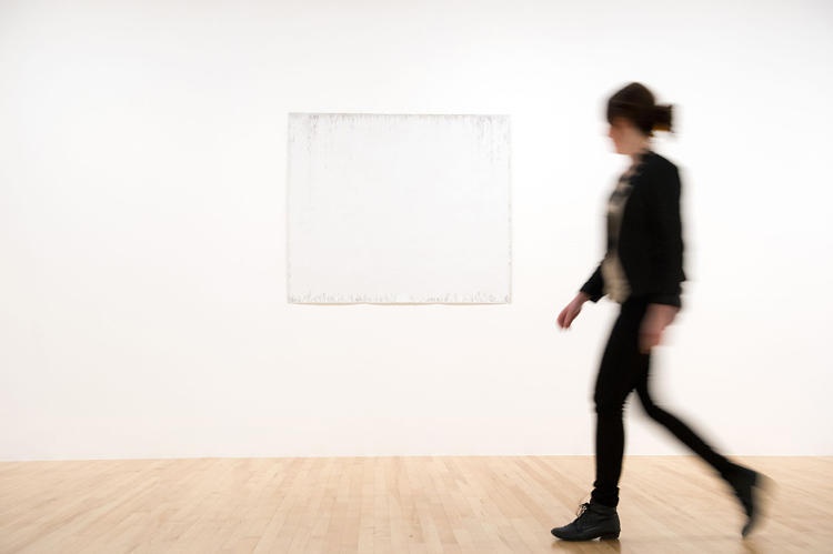 <p>One of the many &quot;blank&quot; pieces of art in the show, <em>Breath, floating in color as well as black and white</em> (2011) is one of Bruno Jakob's invisible paintings. To create the works, Jakob exposes primed canvases to &quot;auras,&quot; or energy, of people and animals. Photo courtesy of Linda Nylind.</p>