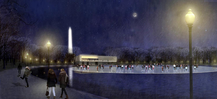 <p>Rogers Marvel Architects and Peter Walker and Partners make room for ice skating in their plan for the Constitution Gardens.</p>
