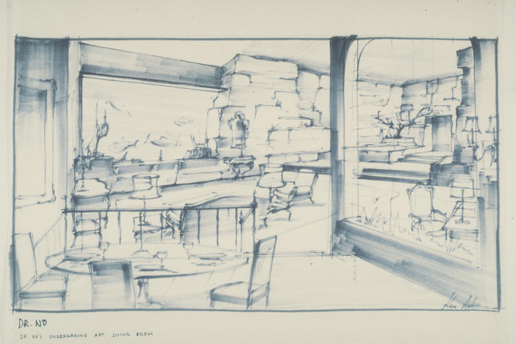 <p>A sketch of the living room in Dr. No's underground apartment.</p>
