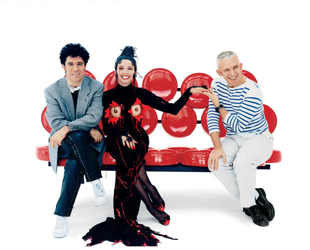 <p>Gaultier, on the left, pictured in 1993 during with Pedro Almodóvar, who often turned to Gaultier for clothing designs.</p>