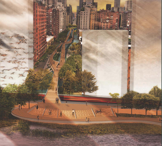<p>A rendering of Joseph Wood's first place entry. Image courtesy of CIVITAS/Reimagining the Waterfront.</p>