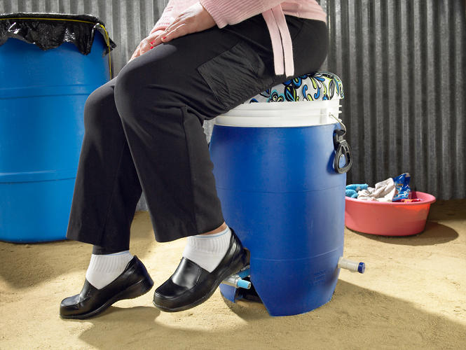 <p>The bucket is stabilized by the user's sitting weight. It also solves problems like back and wrist strains, two of several risks involved with traditional hand-washing.</p>