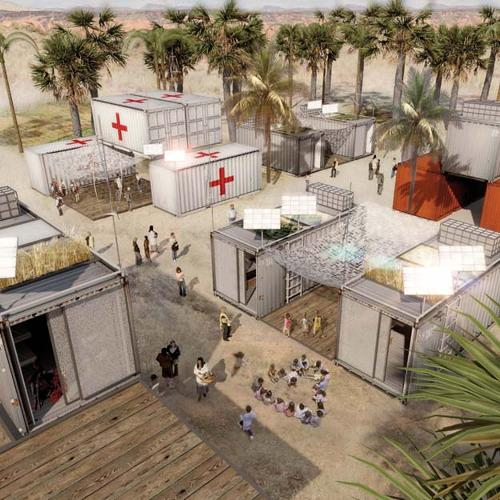 <p>Ingenhoven Architects's concept for a mobile emergency village.</p>