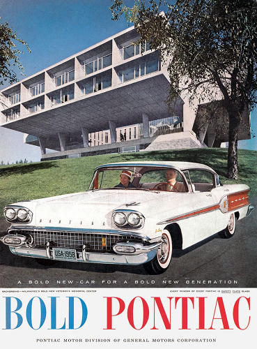 <p>Contrast that to the freshness of this 1958 ad for Pontiac, which uses modern architecture to signal the company's forward-thinking car design: &quot;A bold new car for a bold new generation.&quot;</p>