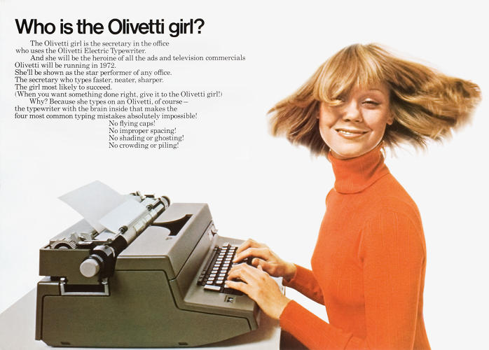 <p>Olivetti was known for its sleek design--something Italian designer Giovanni Pintori echoed in the company's visual identity, from the logo to the promo posters. The ad above was designed in 1972.</p>